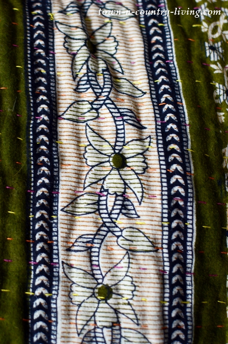 Green Kantha Blanket - embroidered old saris