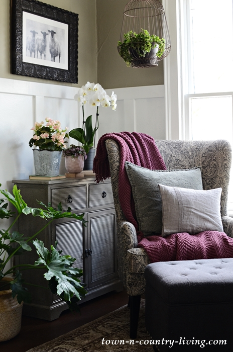 Gray Wing Chair in Reading Corner with Plants and Orchids