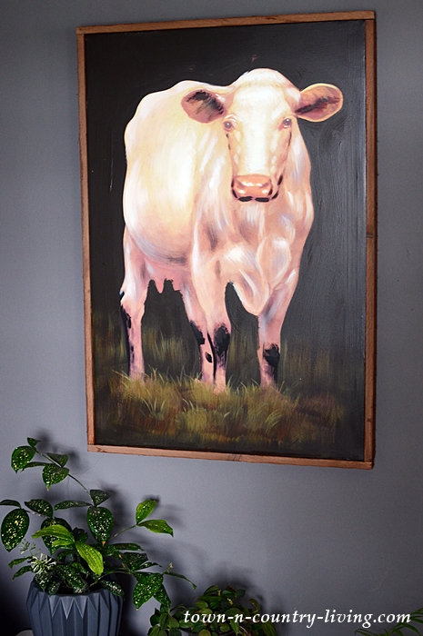 Canvas Cow Painting Framed in Wood