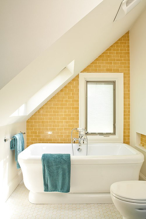 Vintage Bathroom with Yellow Subway Tile Wall