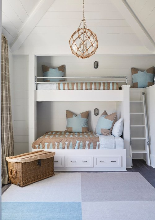 Beach Style Kids Bedroom with Built-in Bunk Beds