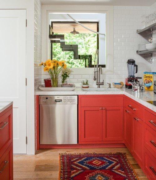 Orange and White Cottage Kitchen