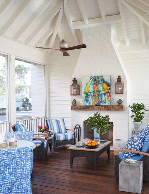 Screened In Southern Porch in Blue and White