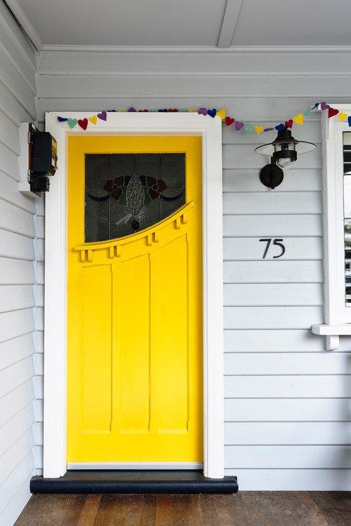 Bright Yellow Craftsman Style Door