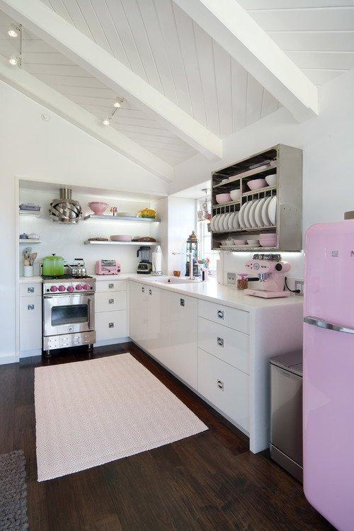 Pink Refrigerator in White Cottage Kitchen