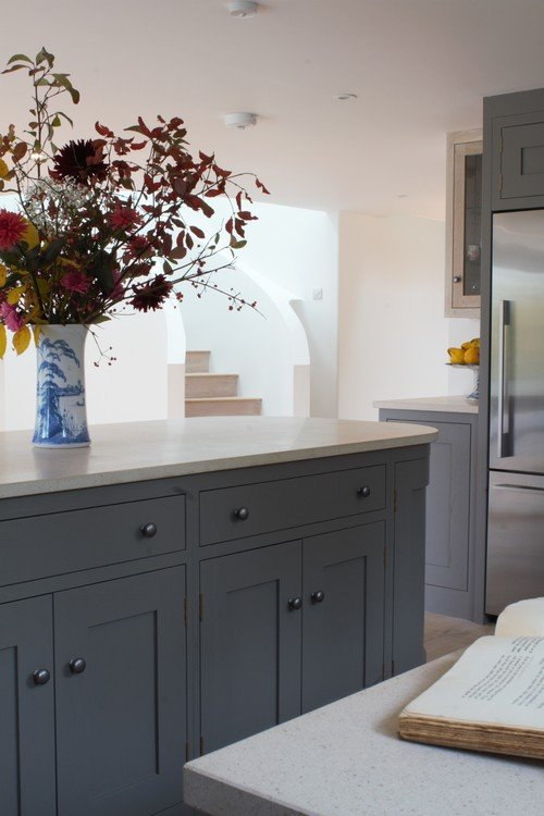 Lower Kitchen Cabinets Painted in Dark Gray