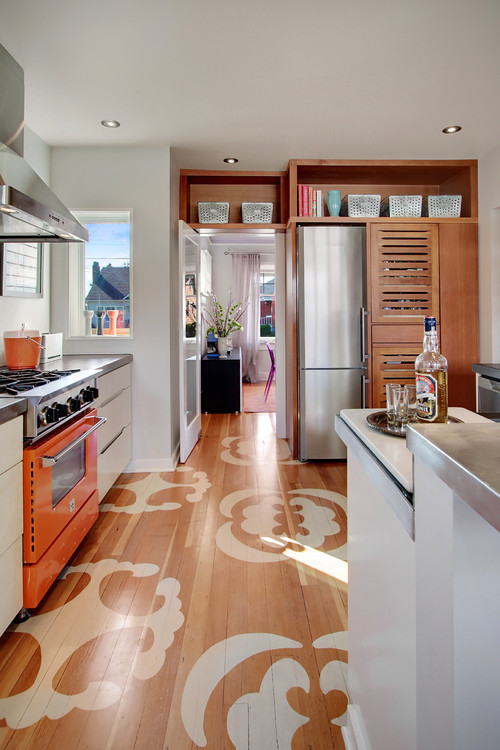 Contemporary Kitchen with Orange Stove