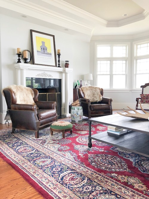 Traditional Living Room with Red Oriental Rug