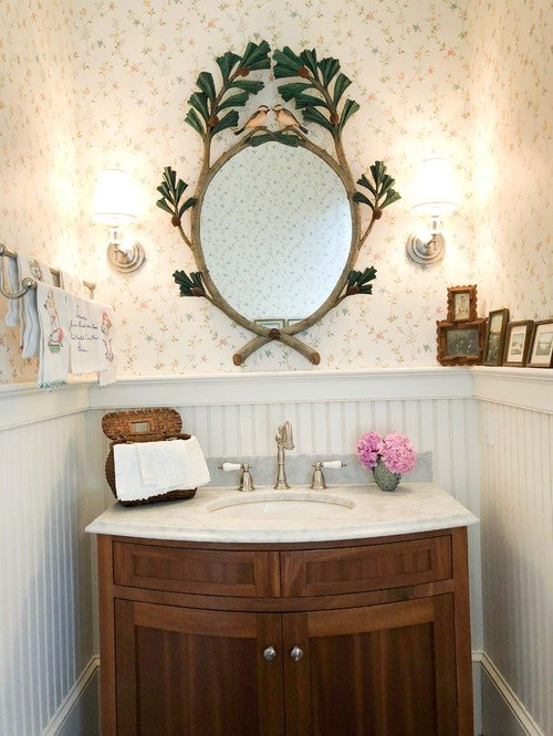 Eclectic Bathroom with Wood Vanity