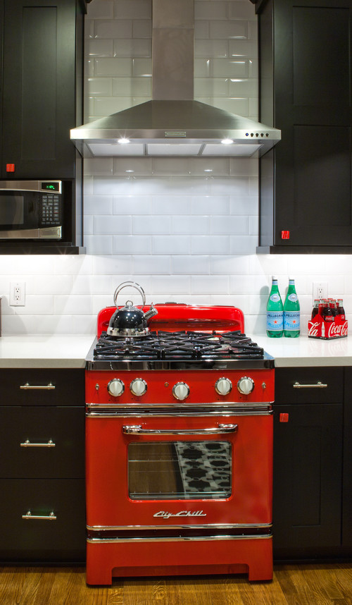 Colorful Kitchen Appliances - red stove in eclectic kitchen