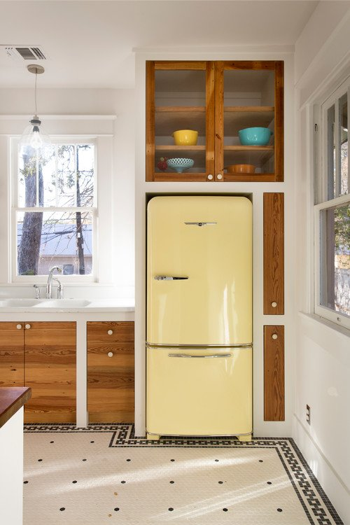 Yellow Refrigerator in Rustic Country Kitchen