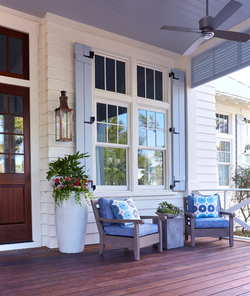 Southern Front Porch with Haint Blue Ceiling
