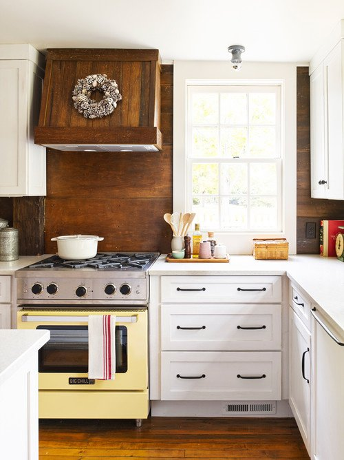Colorful Kitchen Appliances - yellow stove in country kitchen