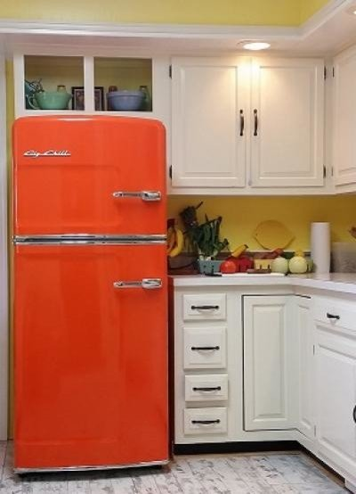 Colorful Kitchen Appliances - Orange refrigerator by Big Chill