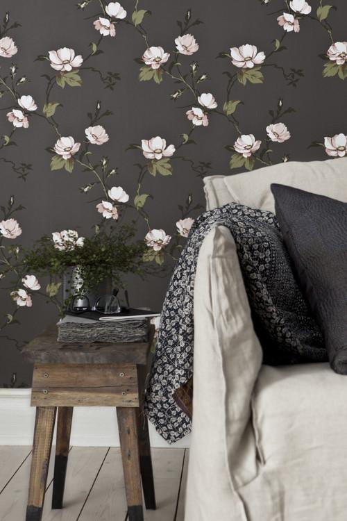Gray Floral Wallpaper in Scandinavian Living Room