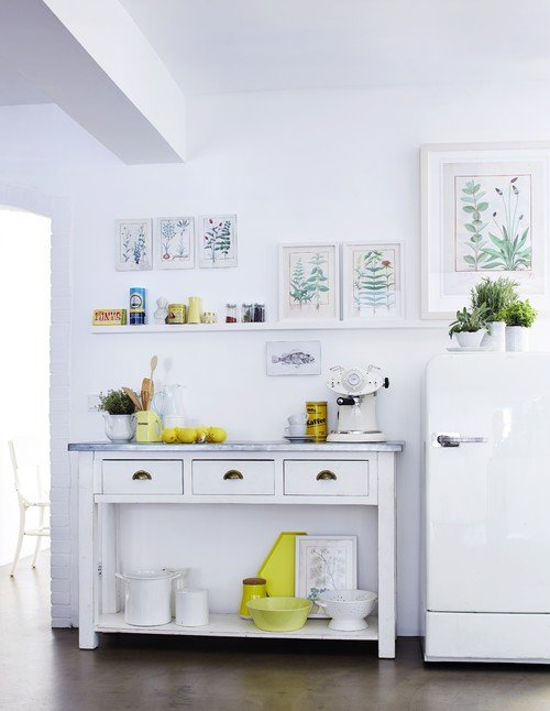 White Cottage Kitchen with Nature Inspired Prints