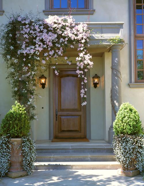 Flowering Vine Frames Wooden Front Door Entry