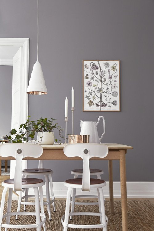 Gray and White Scandinavian Dining Room