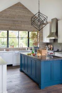 Choosing Kitchen Colors - a blue kitchen island