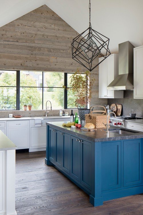 Choosing Kitchen Colors - a blue kitchen island