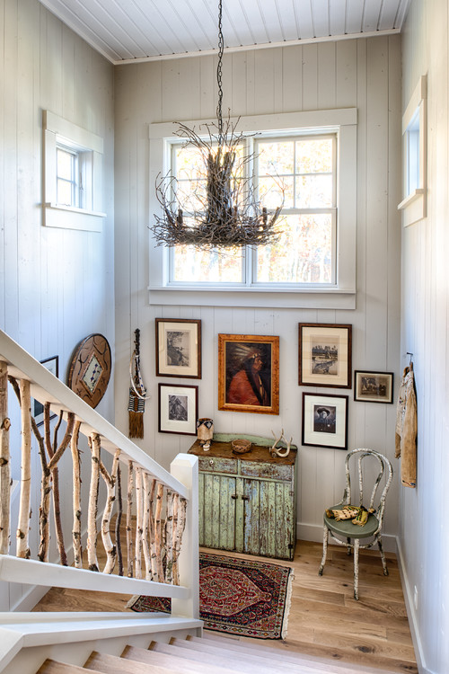 Rustic Staircase Made with Birch Branches