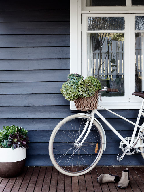 Cruiser Bike on Front Porch of Blue Cottage