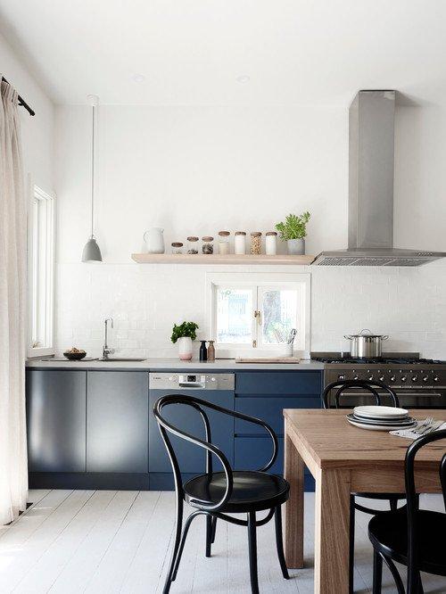 Minimalist Scandinavian Kitchen in Blue and White