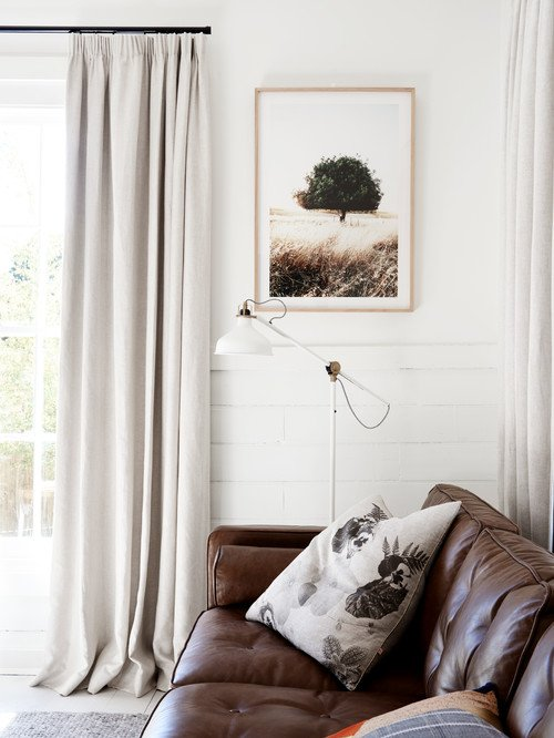 Neutral Tone Scandinavian Living Room with Leather Couch