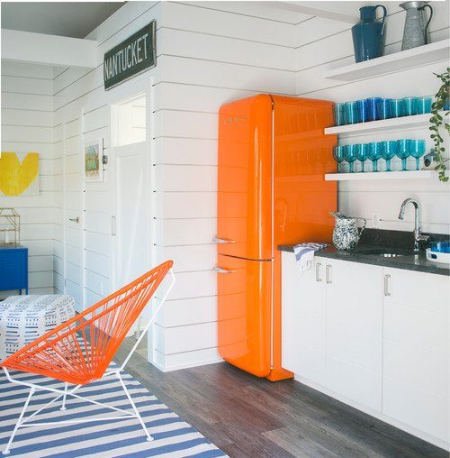 Orange Refrigerator in Beach Style Kitchen