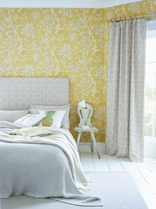 Transitional Bedroom with Yellow Wallpaper
