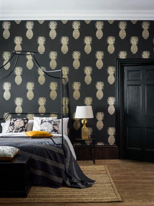 Dark Gray Bedroom with Pineapple Wallpaper