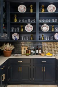 Dark Gray Home Bar in the Kitchen