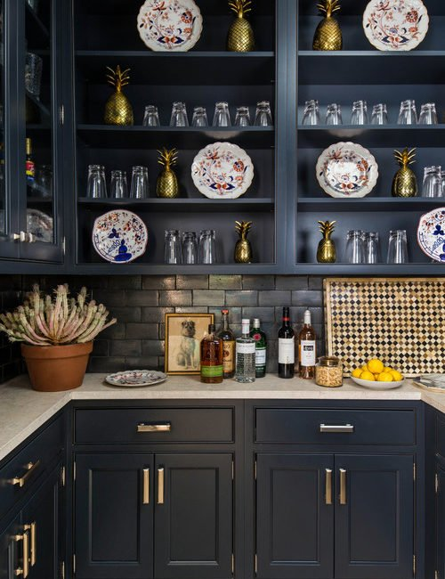 Dark Gray Home Bar in the Kitchen
