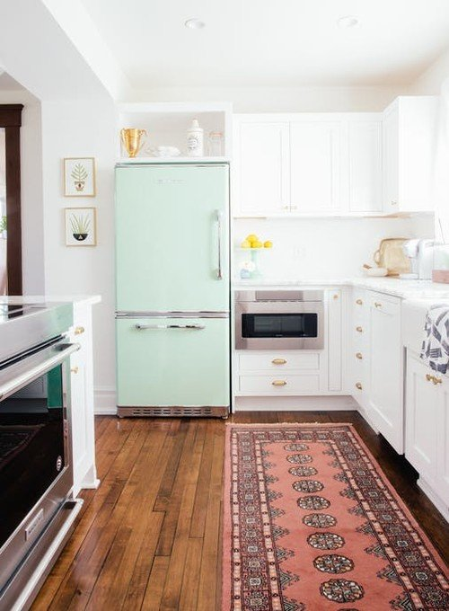 Mint Green Refrigerator in Kitchen - by Big Chill