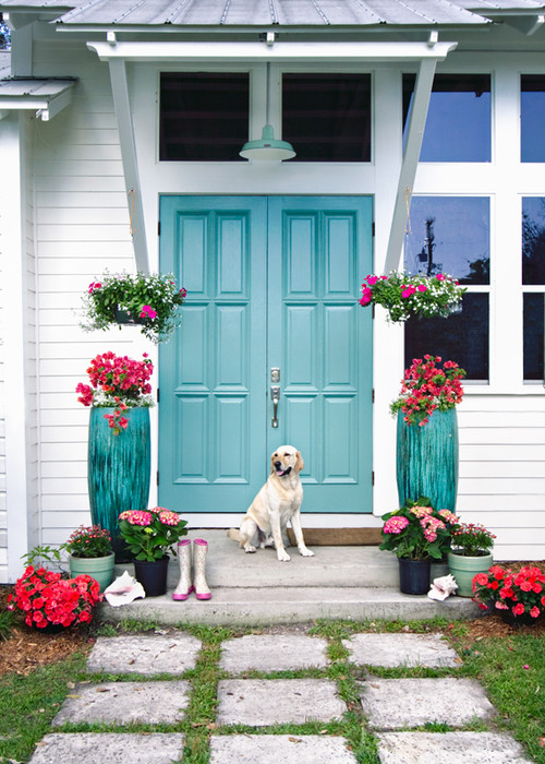 Double Front Doors Painted Turquoise