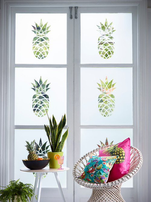 Tropical Boho Chic Living Room with Pineapples Window