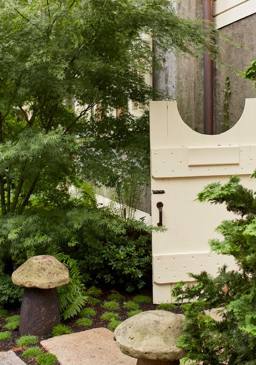 Victorian Garden Gate with Cement Mushroom