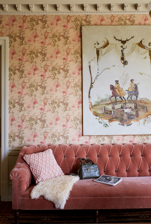 Victorian Living Room with Pink Couch and Wallpaper
