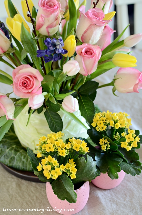 Tulips, Roses, Hyacinths in a Cabbage Flower Vase