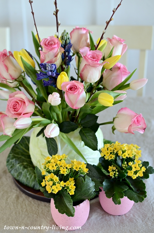 DIY Cabbage Flower Vase with Tulips and Roses