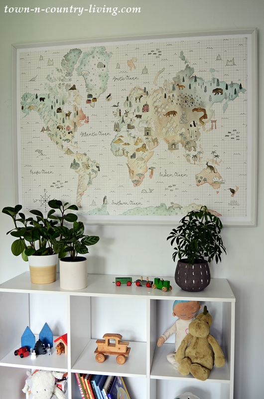 World Map and Toy Shelf for Animal Themed Bedroom