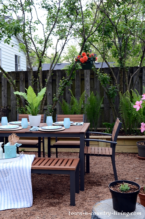 Outdoor Summer Dining on Rustic Patio