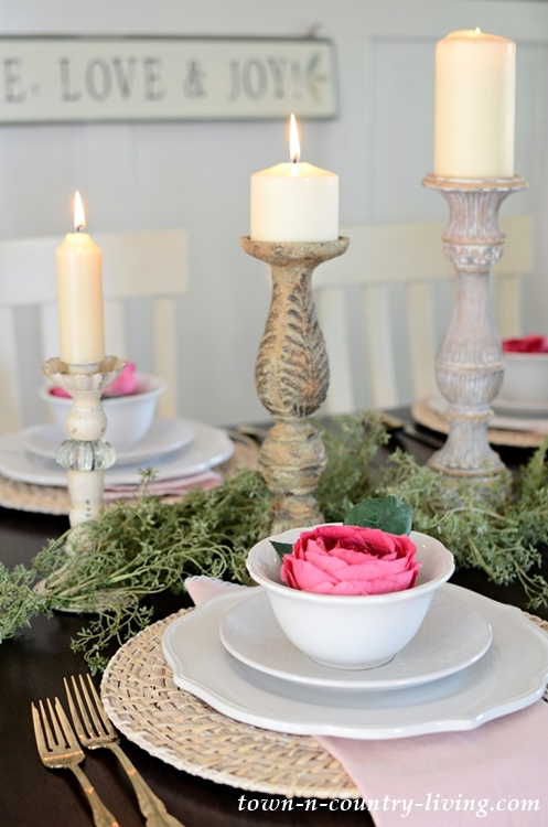 Summer Luncheon Table Setting in Pink and White