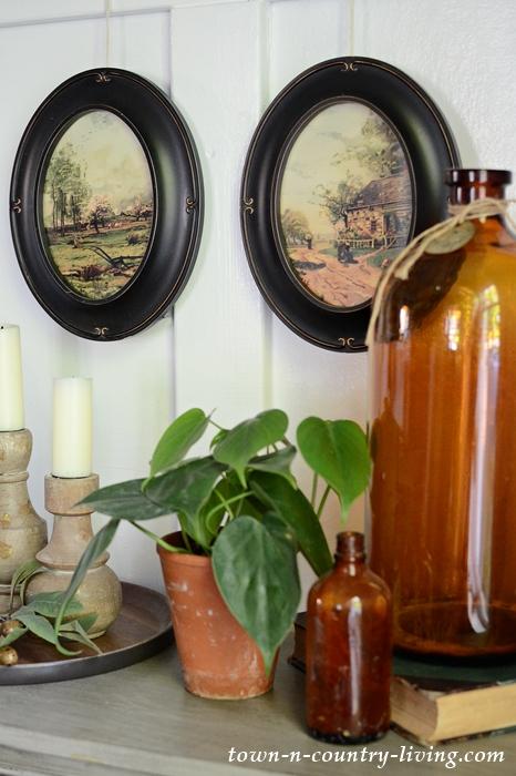Country Decor Vignette with Framed Landscape Prints