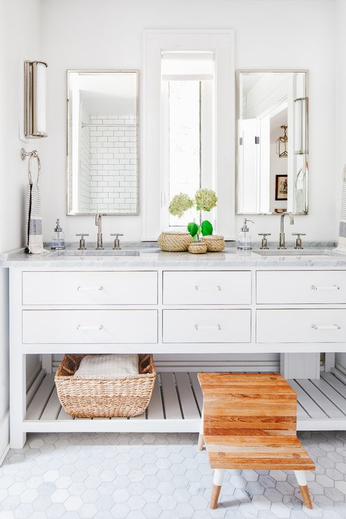 White Master Bathroom with Double Vanity