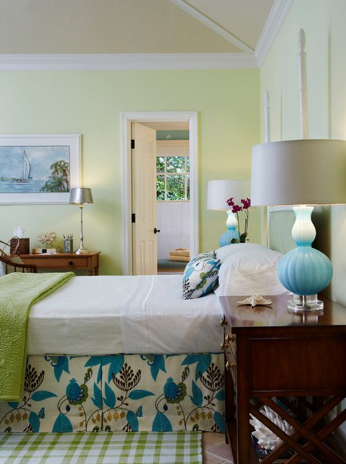 Dreamy Bedroom in Blue, Green, and White