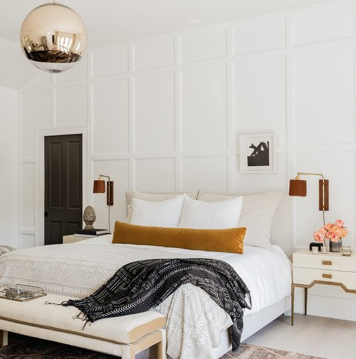 Contemporary Bedroom in White and Neutrals