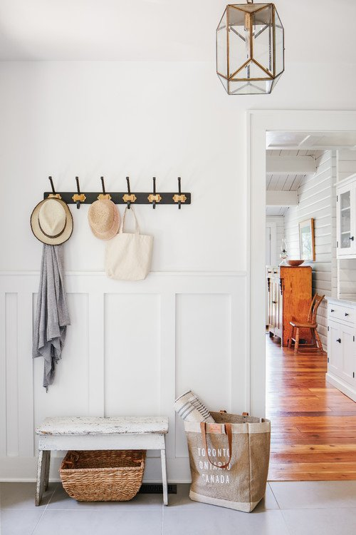 Farmhouse style entryway in beach cottage