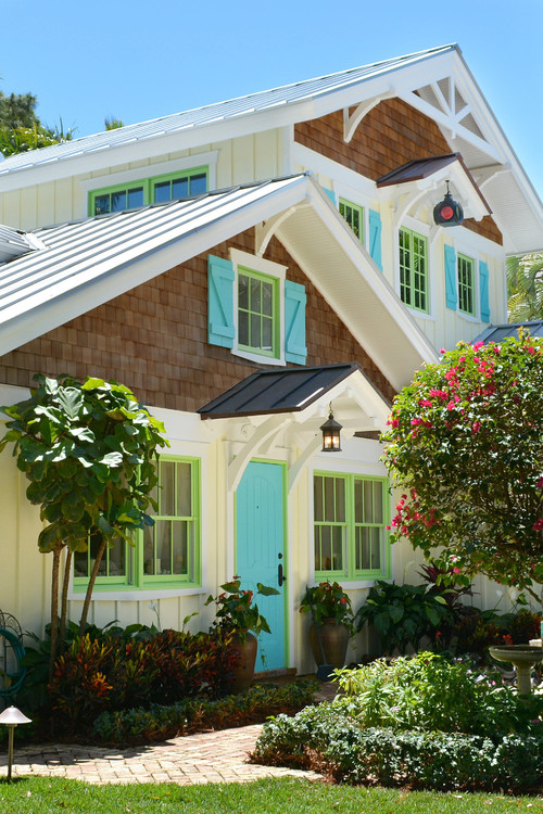 Aqua and Lime Green Trim on Home Exterior