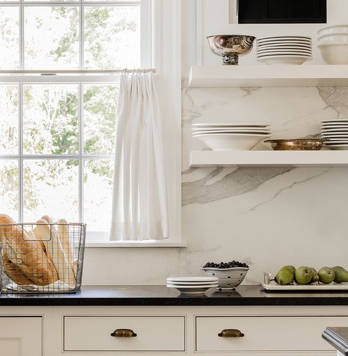 Open Shelving Kitchen with Marble Back Splash
